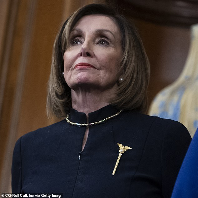 Back then: In 2019 (pictured), she also wore a Mace of the United States House of Representatives pin