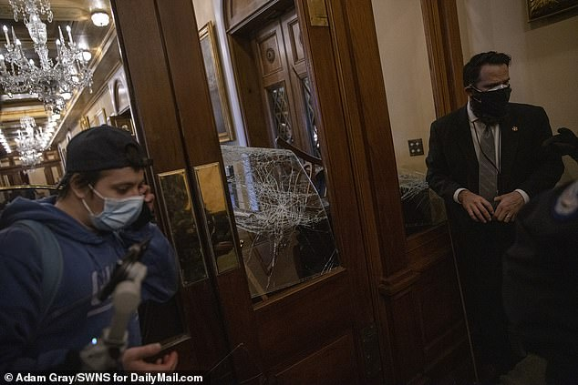 The FBI identified Baranyi as this man pictured inside the Capitol during the riot