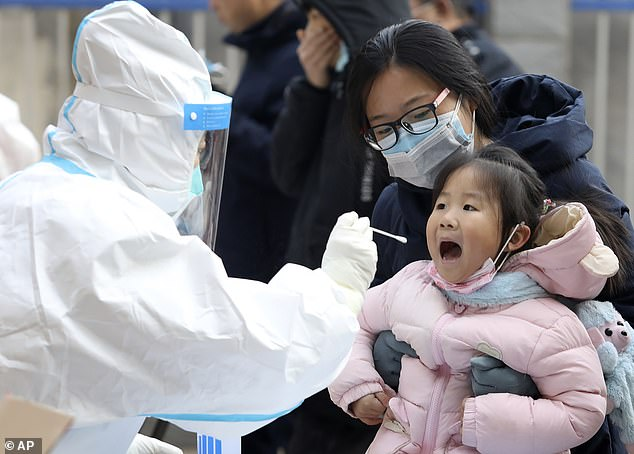 Pictured: A worker in a protective suit takes a swab from a child for a coronavirus test in Shijiazhuang in northern China's Hebei Province on Monday