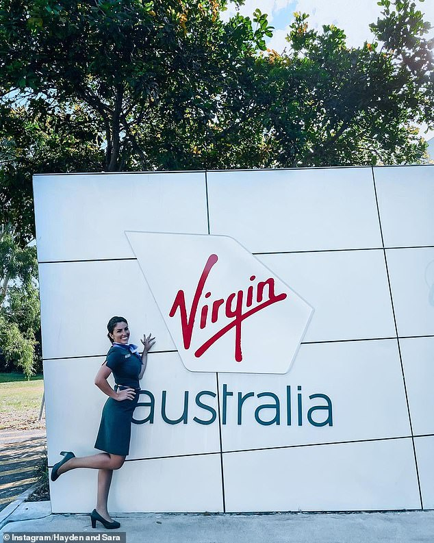'I'm back': Sara revealed on Thursday she was back in the skies and working as a Virgin Australia flight attendant again almost a year after being fired