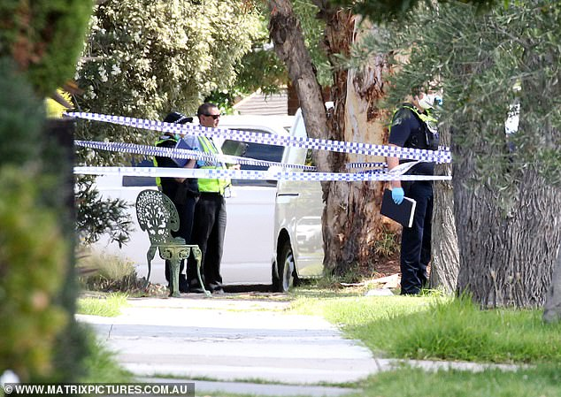 The scene at 56 Burgess St, Tullamarine, where a woman and her three young children died
