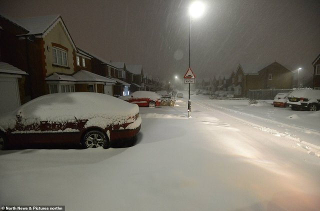 Residents of Consett in County Durham woke to a whiteout scene this morning following heavy snow overnight