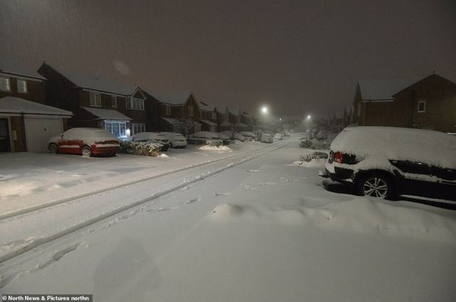A road in the County Durham town of Consett is under a blanket of snow this morning following overnight flurries t
