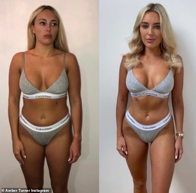 Hot stuff! Thee reality star flaunted her body overhaul once more on Sunday evening as she posted an amazing before and after shot