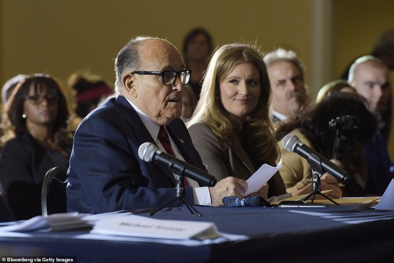 Rudy Giuliani speaks during a Pennsylvania Senate Majority Policy Committee hearing in Gettysburg, Pennsylvania, U.S., on Wednesday, Nov. 25, 2020. Trump ran with Giuliani's claims of massive fraud, continuing to make the case at a rally before the Capitol riot