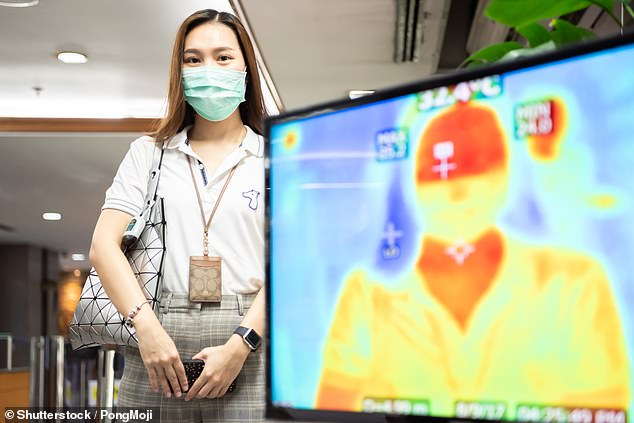 Using temperature scanners as a screening mechanism in offices, restaurants and at airports is unreliable and inaccurate, researchers have stated (stock photo)