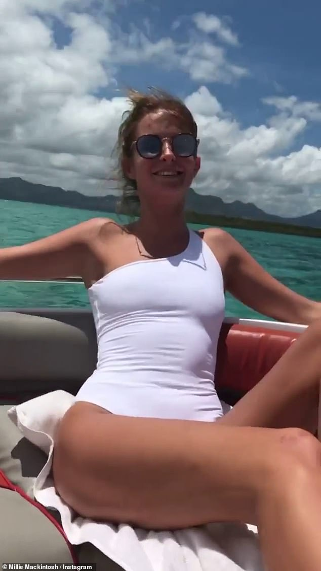 Reflection: Taking to Instagram, the former Made In Chelsea star, 31, looked amazing as she shared a collection of photos and videos of retro swimsuits