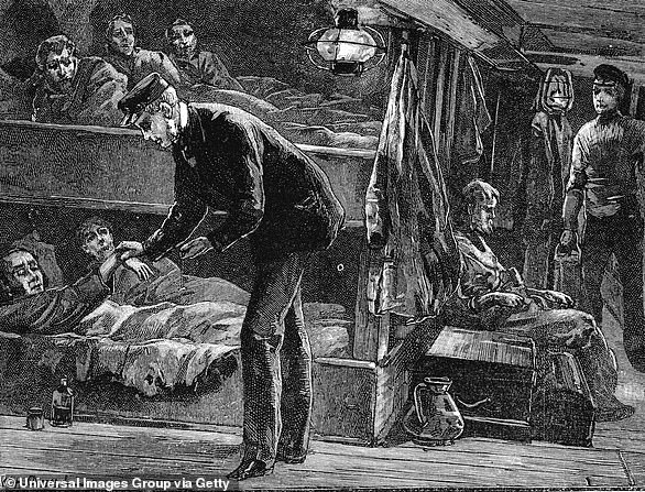 The crossing: An engraving showing the conditions on a ship bound for North America from Ireland in the 1840s. A steward takes the pulse of a sick man