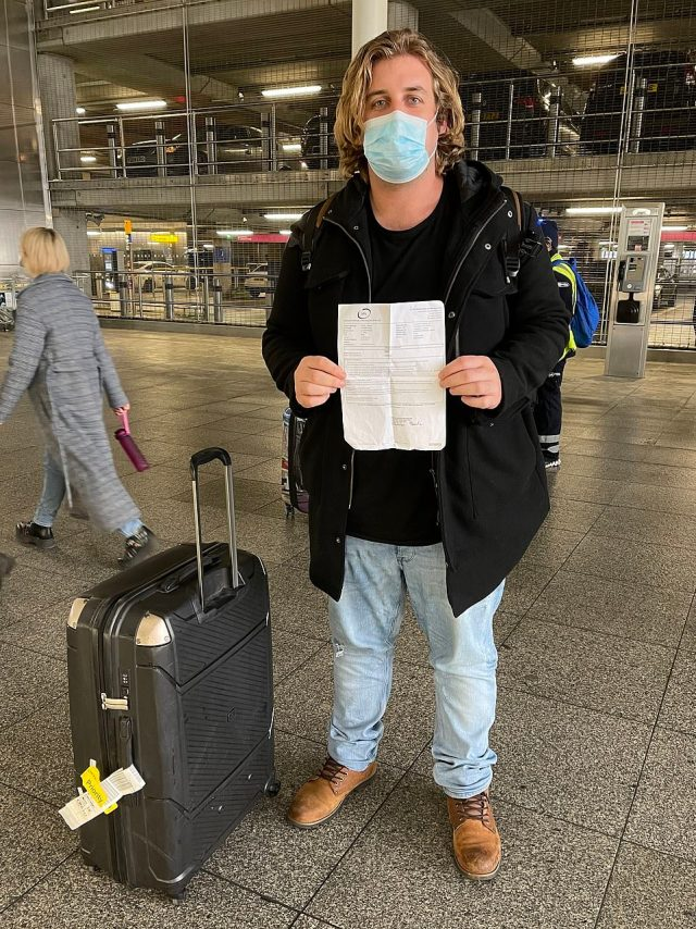 Sean Meade (pictured) told MailOnline that he had a Covid test on Monday in Durban and carried a copy of his negative result expecting that he would be asked for it when arriving at Heathrow via Paris - but nobody bothered