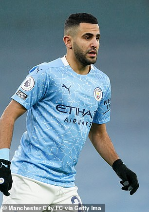 Despite the Covid-19 lockdown closing salons up and down the country, many Premier League stars, including Paul Pogba and Mason Holgate, have continued to show off their fresh hairstyles which look surprisingly professional at recent games (pictured, Riyad Mahrez, on January 13)
