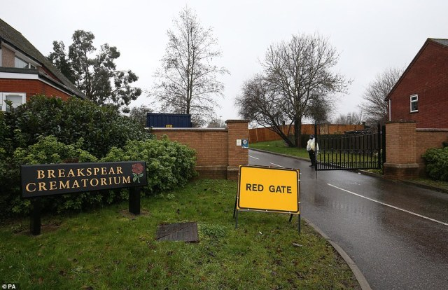 The entrance to the overflow mortuary at Breakspear Crematorium in Ruislip, West London, pictured today