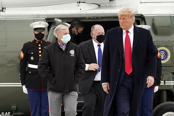 Senator LindseyGraham jumped back on the Trump plane - literally - on Tuesday as he accompanied the president on Air Force One to Texas