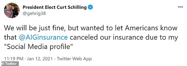"The Red Sox legend tweeted: 'We will be just fine, but wanted to let Americans know that @AIGinsurance canceled our insurance due to my ""Social Media profile""'"