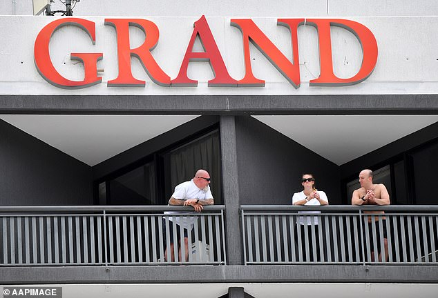 The Crooks have had no luck getting an upgraded room with a balcony and instead have been transferred to a smaller room (pictured: stock image of guests on balconies at the Grand Chanellor Hotel during mandatory quarantine)