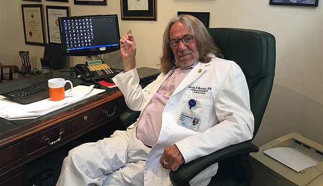 Dr. Harold N. Bornstein, Donald Trump's personal physician who once famously declared him to be 'the healthiest individual ever elected to the presidency,' died this past Friday, it has been revealed. He is seen above at his Manhattan office in this undated file photo
