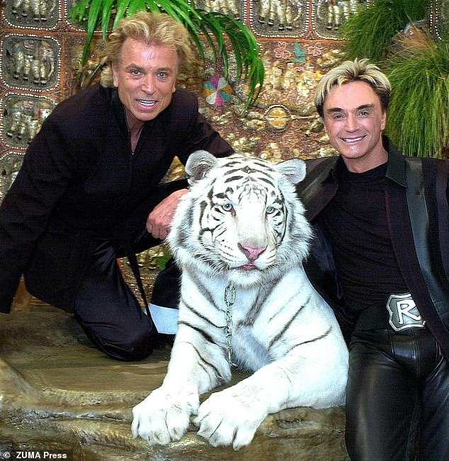 Pictured Siegfried & Roy in 2002 withMonticore, the 7-year-old rare snowhite Siberian tiger that attacked Roy on stage in 2003