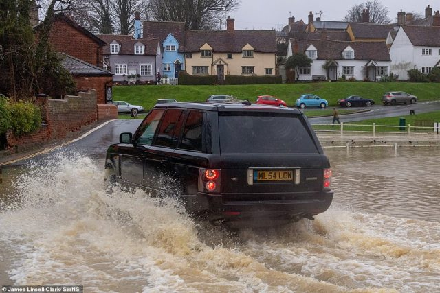 Flooding in the village of Finchingfield in Essex today after much of the South East had high levels of rainfall