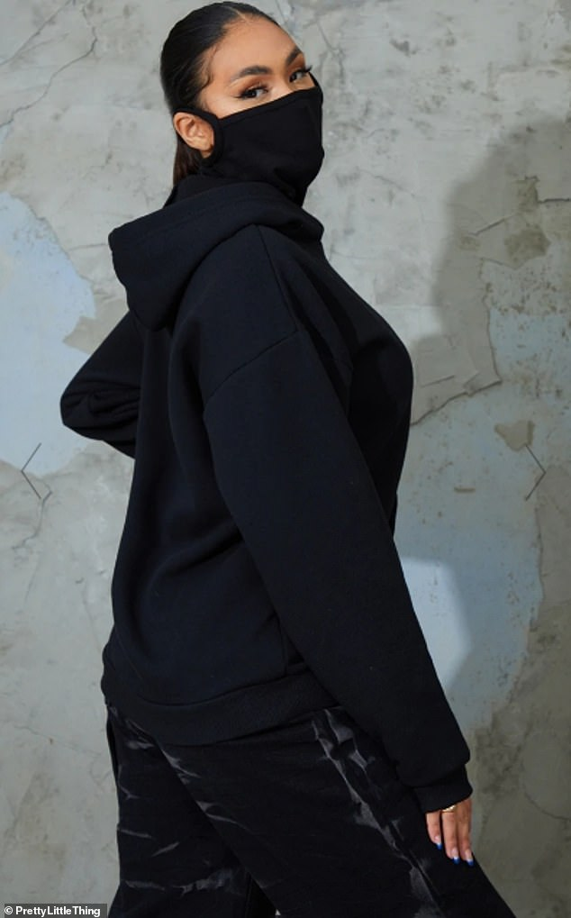 The Black Oversized Mask Hoodie - which is available in black and grey - features fabric with a built-in mask and an oversized fit (pictured)