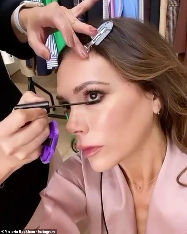 Make-up time!Victoria Beckham was her own best advertisement for her latest product, as she shared a clip of herself getting her make-up done on Thursday afternoon