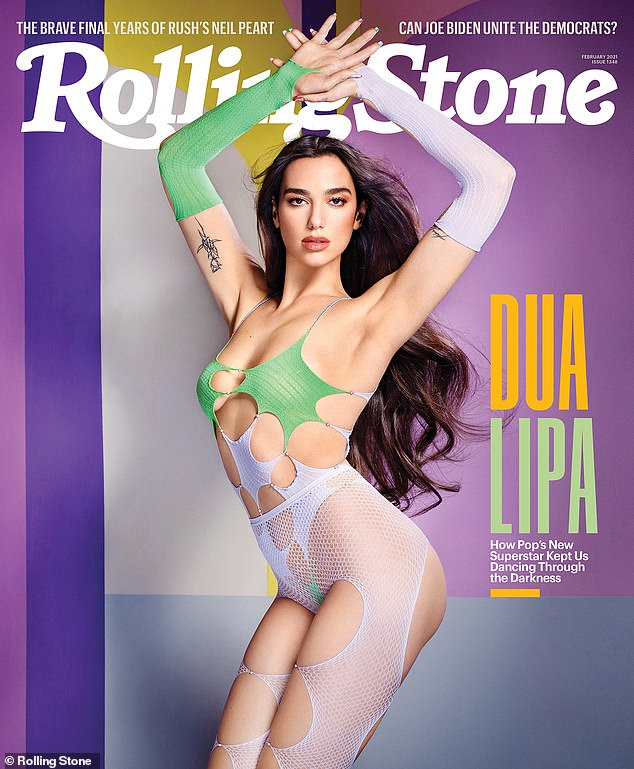 The new queen of pop!  Dua Lipa stuns in VERY revealing mesh ensemble as she cements her pop star status on Rolling Stone magazine cover