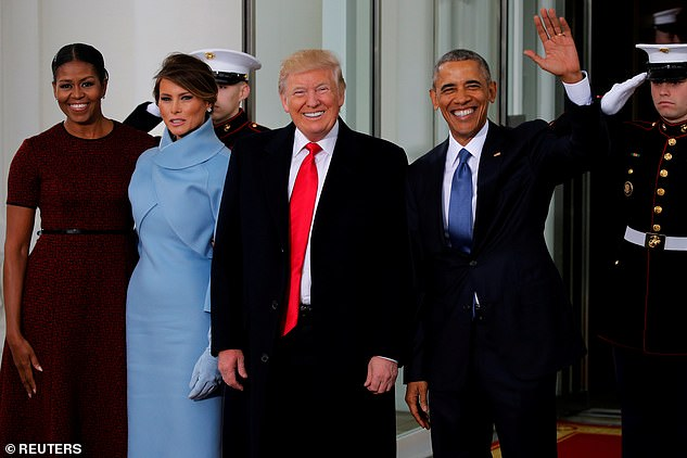 Melania Trump attended her husband's 2017 inauguration with Barack and Michelle Obama - but the outgoing president is boycotting Joe Biden's swearing-in on January 20 this year