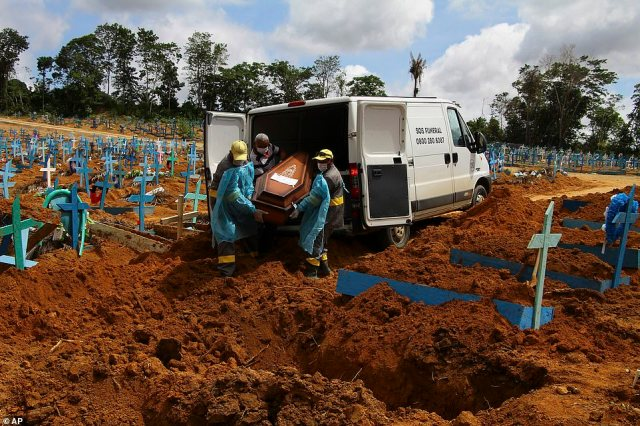 In Manaus, northwestern Brazil, where there were haunting scenes last April of mass graves and corpses piled in refrigerator trucks, the health system is near to collapse again. Pictured: Cemetery workers carry the remains of 89-year-old Abilio Ribeiro, who died of the new coronavirus strain in Manaus on January 6