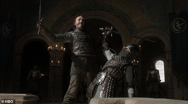 Giuliani said he was talking about a 'trial by combat' in terms of having someone from both sides examine Dominion voting machines, insisting his suggestion was non-violent. In 'Game of Thrones' the trial resulted in Bronn (left) slitting the throat ofSer Vardis Egen (right)