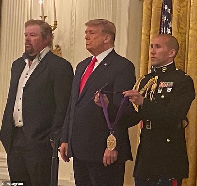 Former White House Press Secretary Sean Spicer uploaded an image to Instagram of Trump standing next to Keith during the ceremony