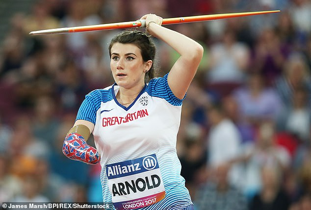 Paralympic champ! Hollie Arnold has shared fears that she will 'struggle' if the Tokyo Paralympic is cancelled after it was postponed last year due to coronavirus (pictured at theWorld Para Athletics Championships 2017)
