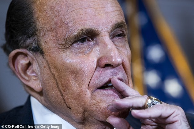 At another election fraud press conference, at the Republican National Committee in Washington DC, an agitated and sweaty Giuliani appeared to be melting on live TV