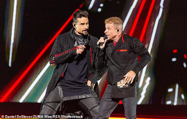 Family rift: Not only are they bandmates, they are also cousins as Littrell's father and Richardson's mother are siblings, and Kevin reportedly called on Brian to try out for the Backstreet Boys during a casting call in 1993; seen in 2019