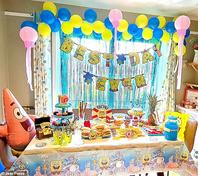 Stacey also created a SpongeBob-themed party (pictured) with 'crabby patties' and all of the characters in attendance