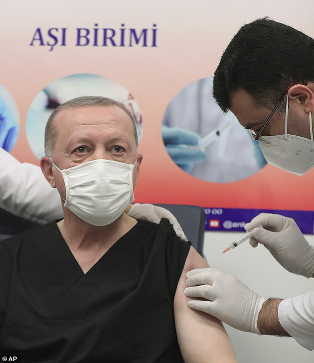 Turkey's President Recep Tayyip Erdogan receives a shot of the COVID-19 vaccination, a day after Turkish authorities gave the go-ahead for the emergency use of the COVID-19 vaccine produced by China's Sinovac Biotch Ltd., in Ankara, Turkey