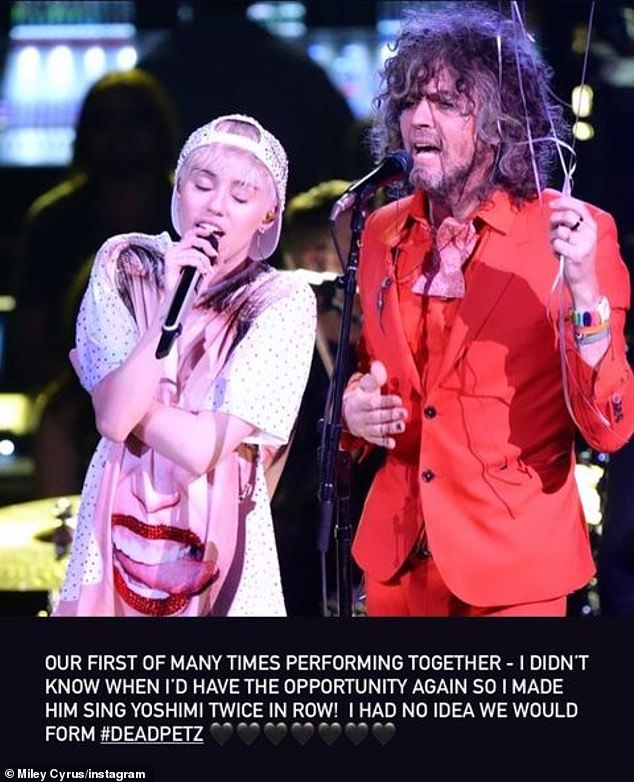Working together: The Flaming Lips later collaborated with the Wrecking Ball singer for her 2015 album Miley Cyrus & Her Dead Petz, which was released for free