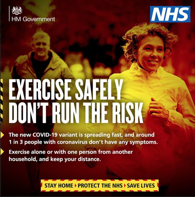 A third Covid ad released by No10 today depicting joggers instructs people: 'Exercise safely, don't run the risk'