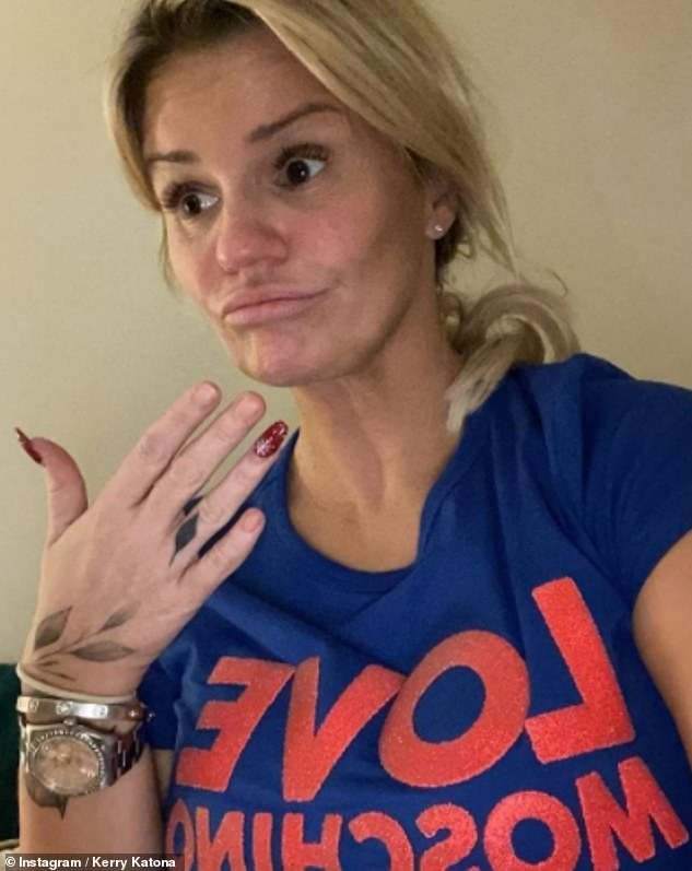 'Love it!' Kerry Katona poked fun at her 'lockdown look' as she updated fans in a funny image shared to Instagram on Thursday amid her coronavirus battle