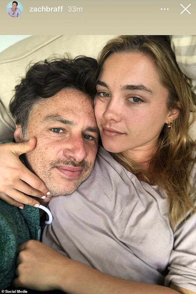 Loved-up:Pugh has been keeping fans updated on her adventures ever since the start of lockdown last year, which includes pasta-making with boyfriend Zach Braff