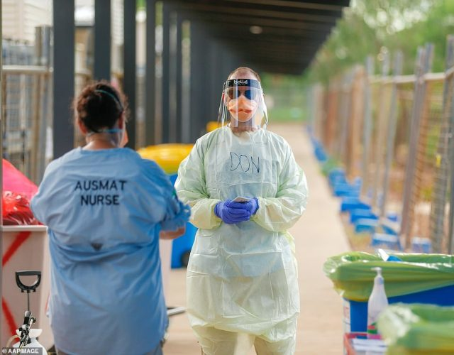 Staff are dressed head-to-toe in protective equipment and tested with a nasal swab every day. At the end of their shifts they put their PPE in the wash and shower on site before heading home to their families