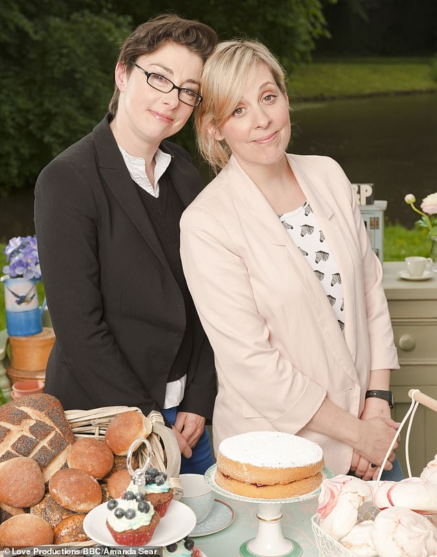 J: Mel Giedroyc (left) with her screen partner and former Bake Off co-star Sue Perkins