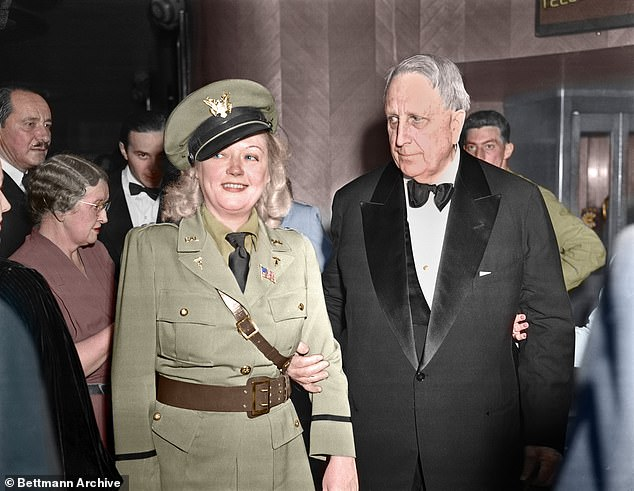 The extraordinary tale of the 35-year liaison between American billionaire William Randolph Hearst and his movie star mistress Marion Davies has been revisited in a new film starring Gary Oldman as the writer of Citizen Kane, a film believed to be based on Hearst that he tried to have destroyed. Pictured: William Randolph Hearst with Marion Davies leaving the California State guard Military Ball in 1942