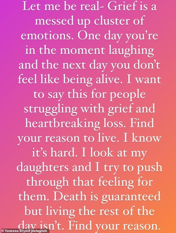 Emotional: 'Let me be real - grief is a mess group of emotions,' Vanessa wrote in an Instagram story last week