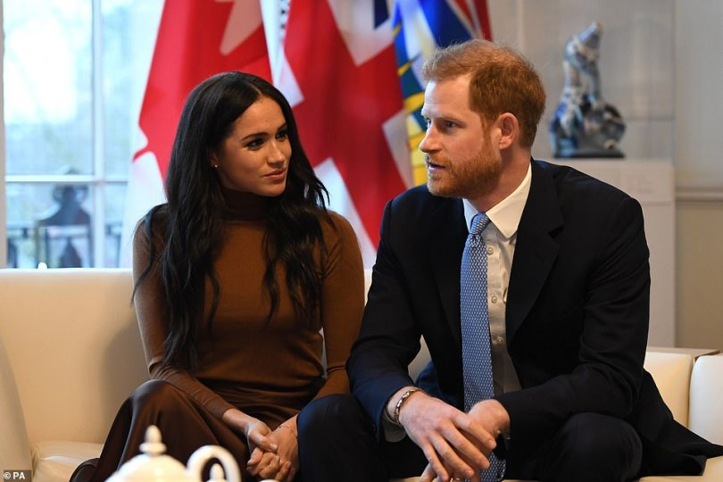 It's been a year since the couple released a statement saying they intended to step down and become financially independent but still support the Queen - a dual role which in the end was unworkable. Pictured: Harry and Meghan in January 2020