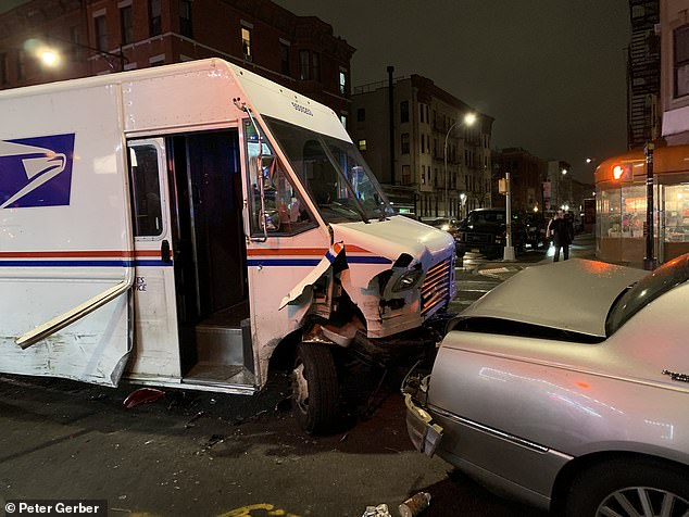 Woman, 21, arrested for 'stealing a USPS truck and plowing it into more a dozen cars in Brooklyn'