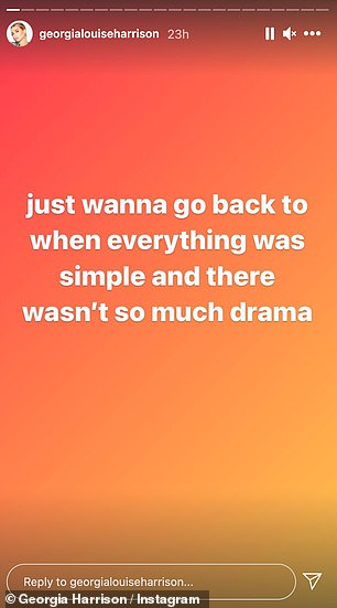 In a follow-up post she said: 'Just wanna go back to when everything was simple and there wasn't so much drama'