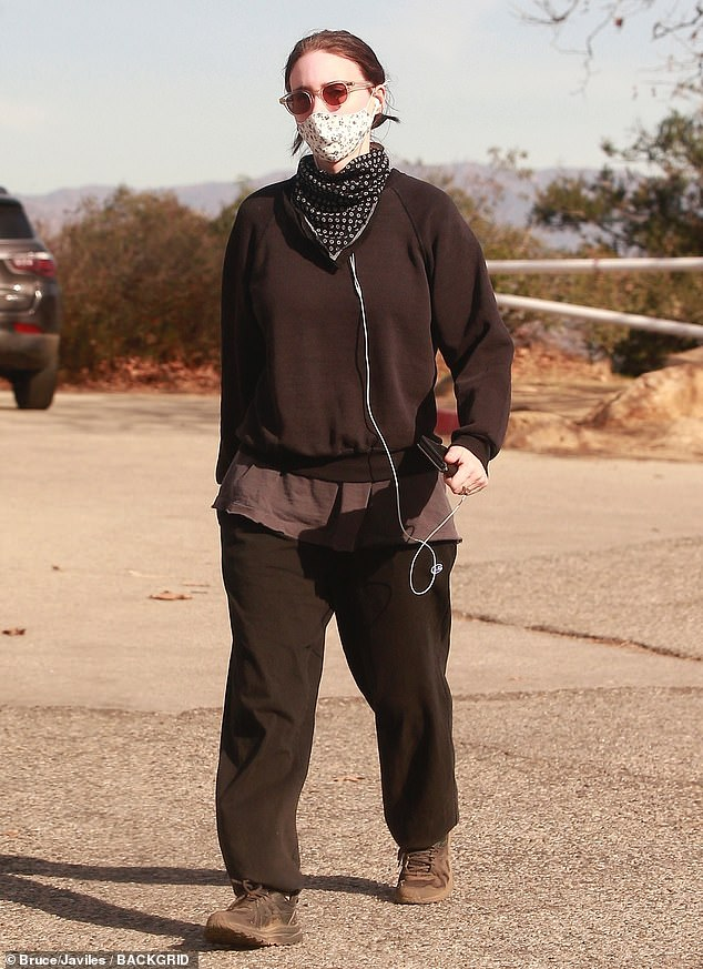 Rooney Mara layers up in a black sweater and sweat pants as she goes on a solo hike in Los Angeles
