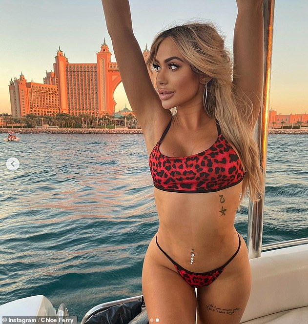 Striking gold: The influencer is said to be earning up to £7,000 for her sponsored holiday posts as she spends UK's lockdown period in the United Arab Emirates for business purposes