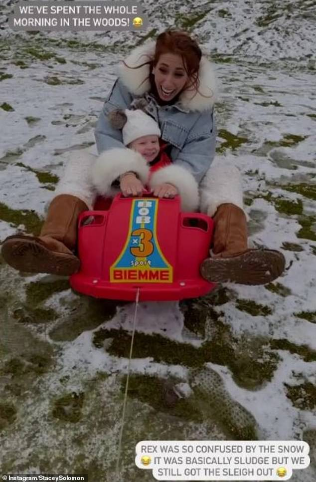 'Making memories':The Loose Women panellist, 31, became emotional over the sweet moment as they all played together in the snow near their Essex home