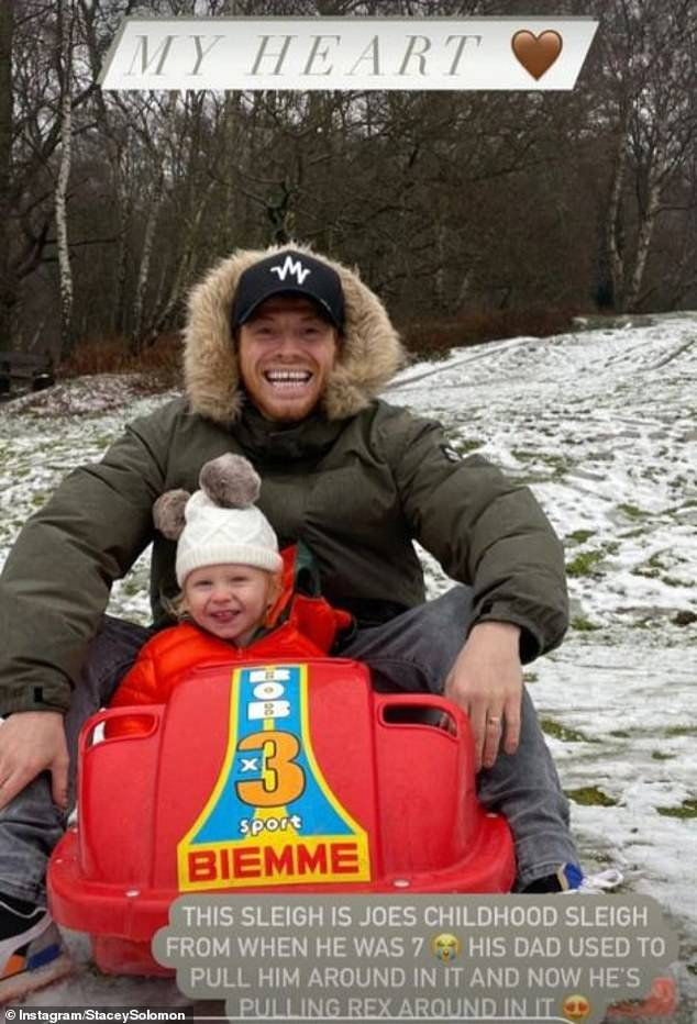 'My heart':Stacey's heartstrings were pulled on Saturday as her fiancé Joe pulled their son Rex around in a sleigh which he and his late father used when he was a child