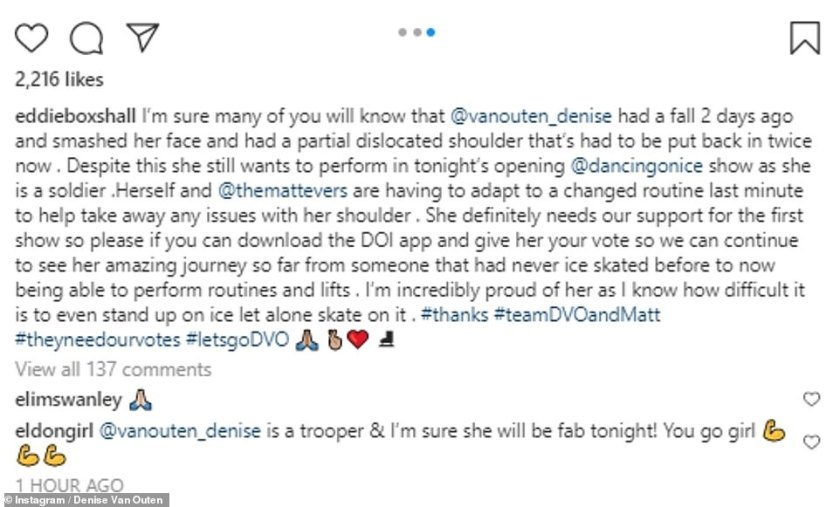 Support: Denise's partner Eddie Boxshall reveals the DOI star will perform a 'changed routine' for launch show