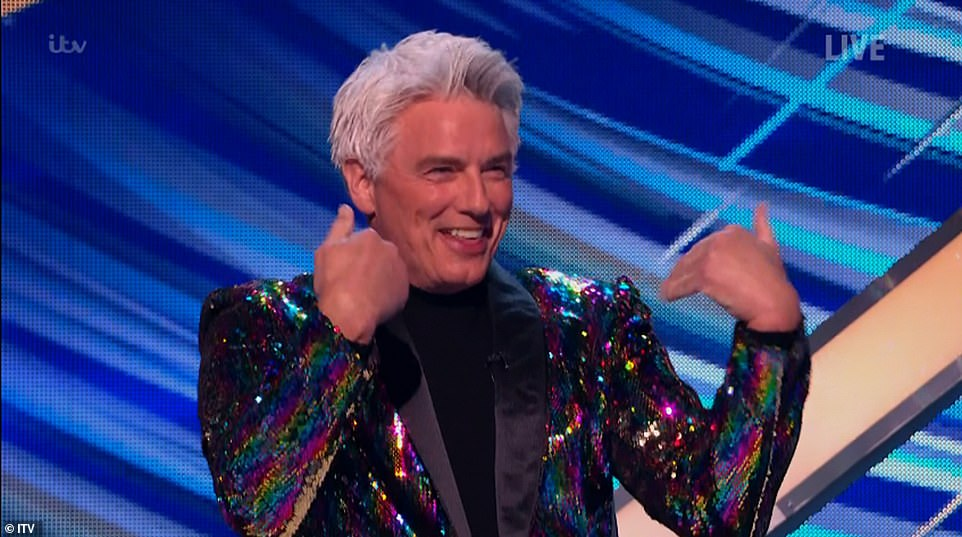 So exciting! Judge John Barrowman could not contain his joy at being back on the ice panel as he rocked a multi-coloured blazer